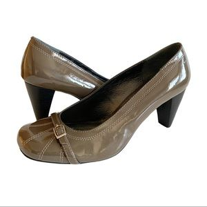 Bravo Browns Work Heels Office Pumps Shoes Taupe 9